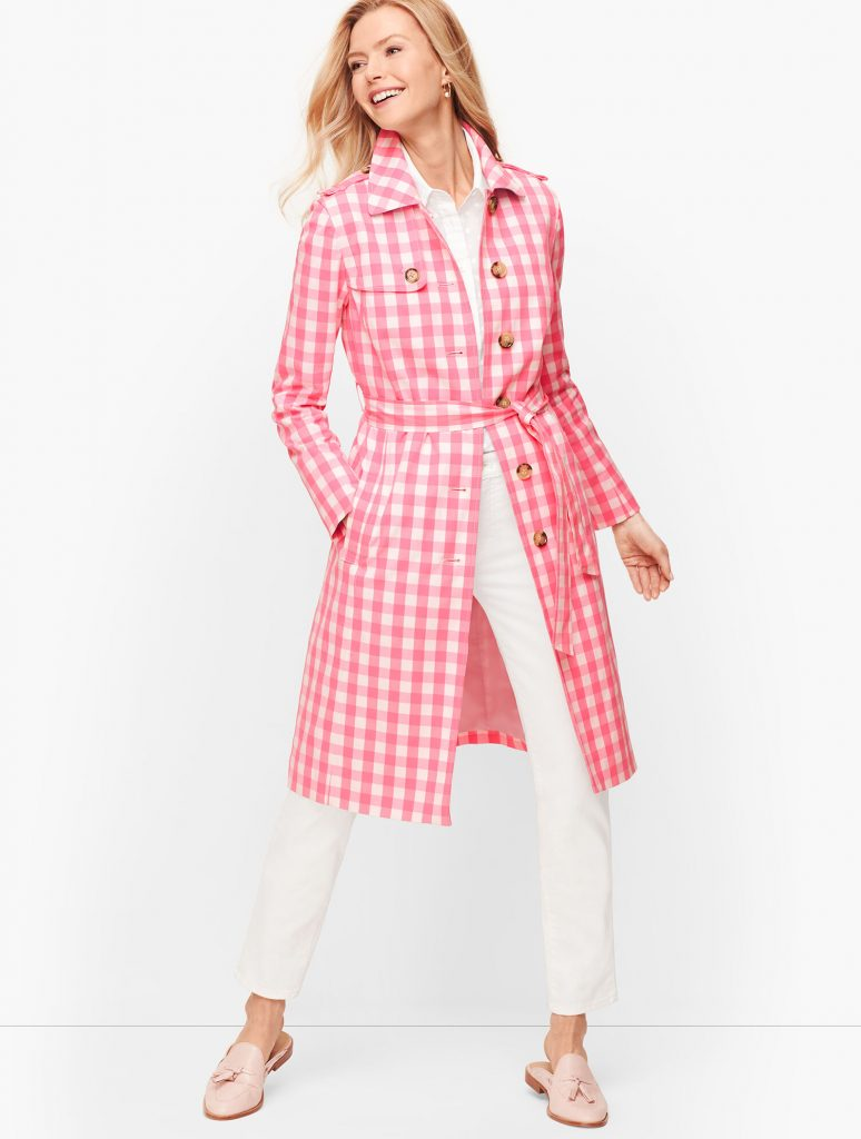 Gingham trench coat