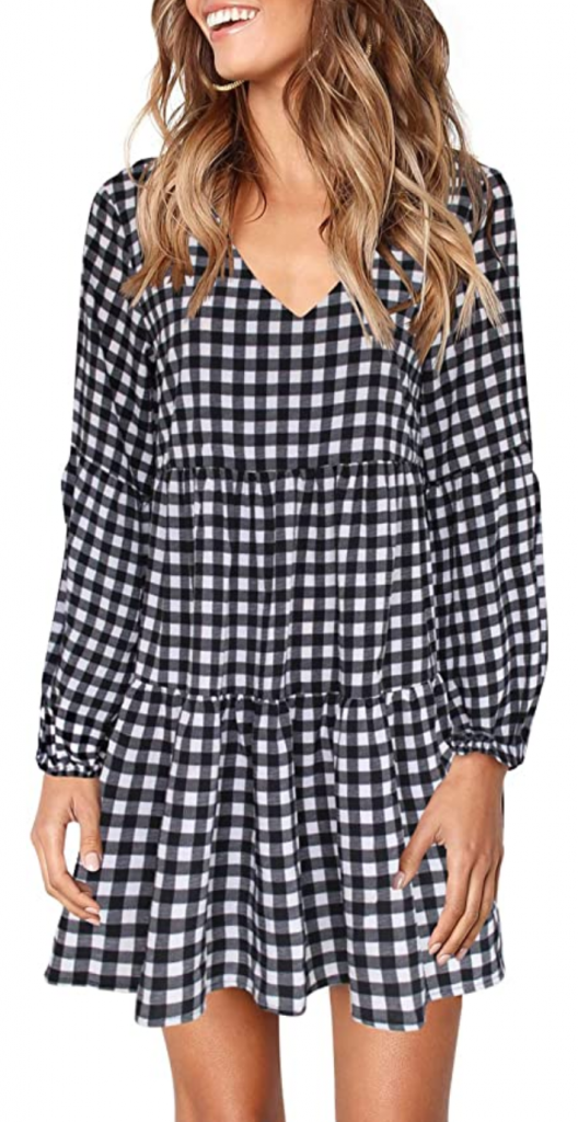 Gingham long sleeve dress