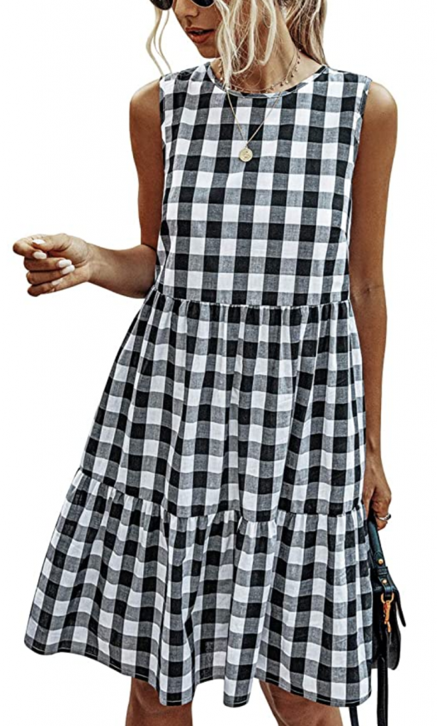Gingham sleeveless dress