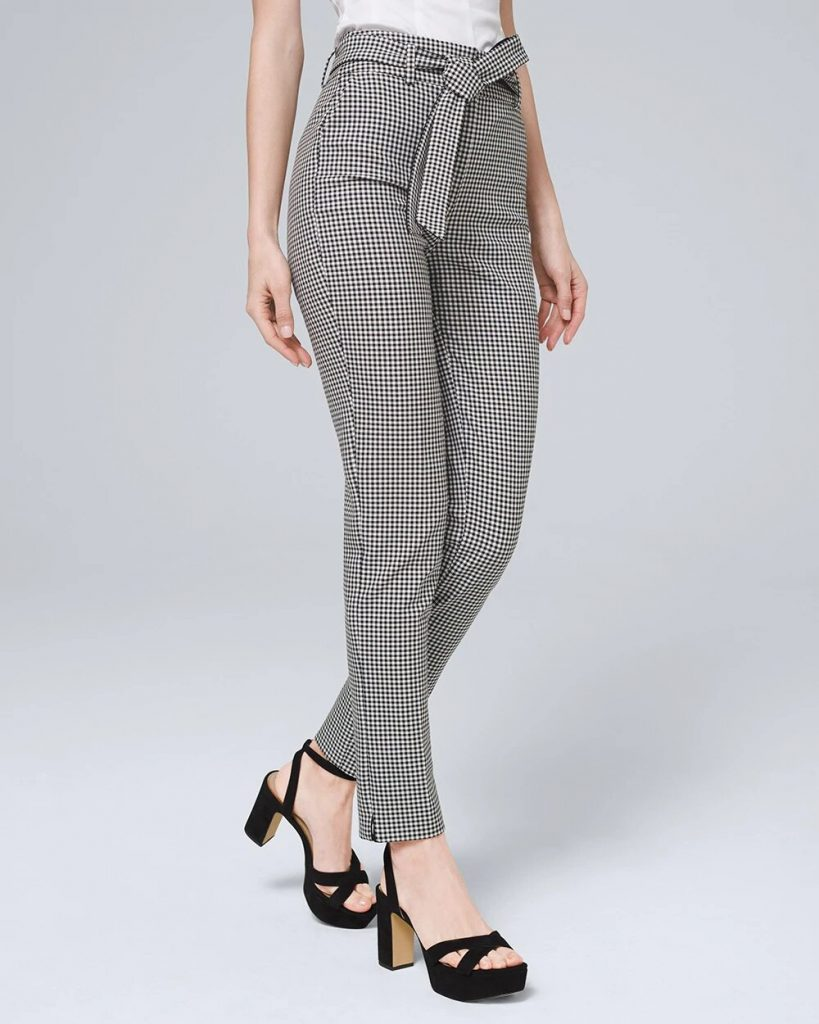 Gingham ankle pants