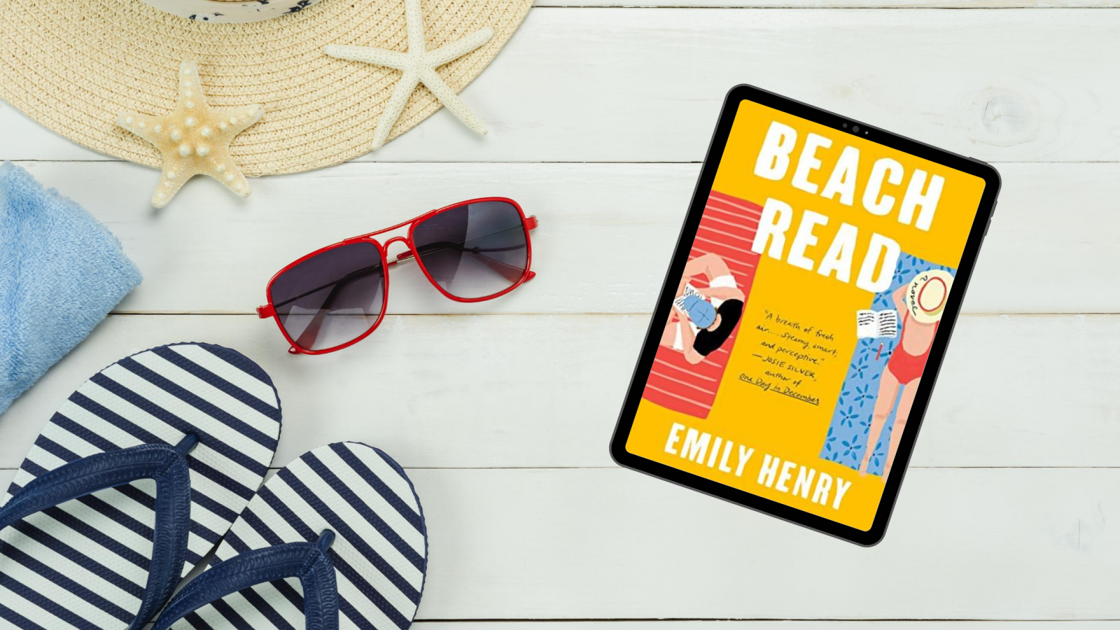 Beach Read book by Emily Henry in beachy setting