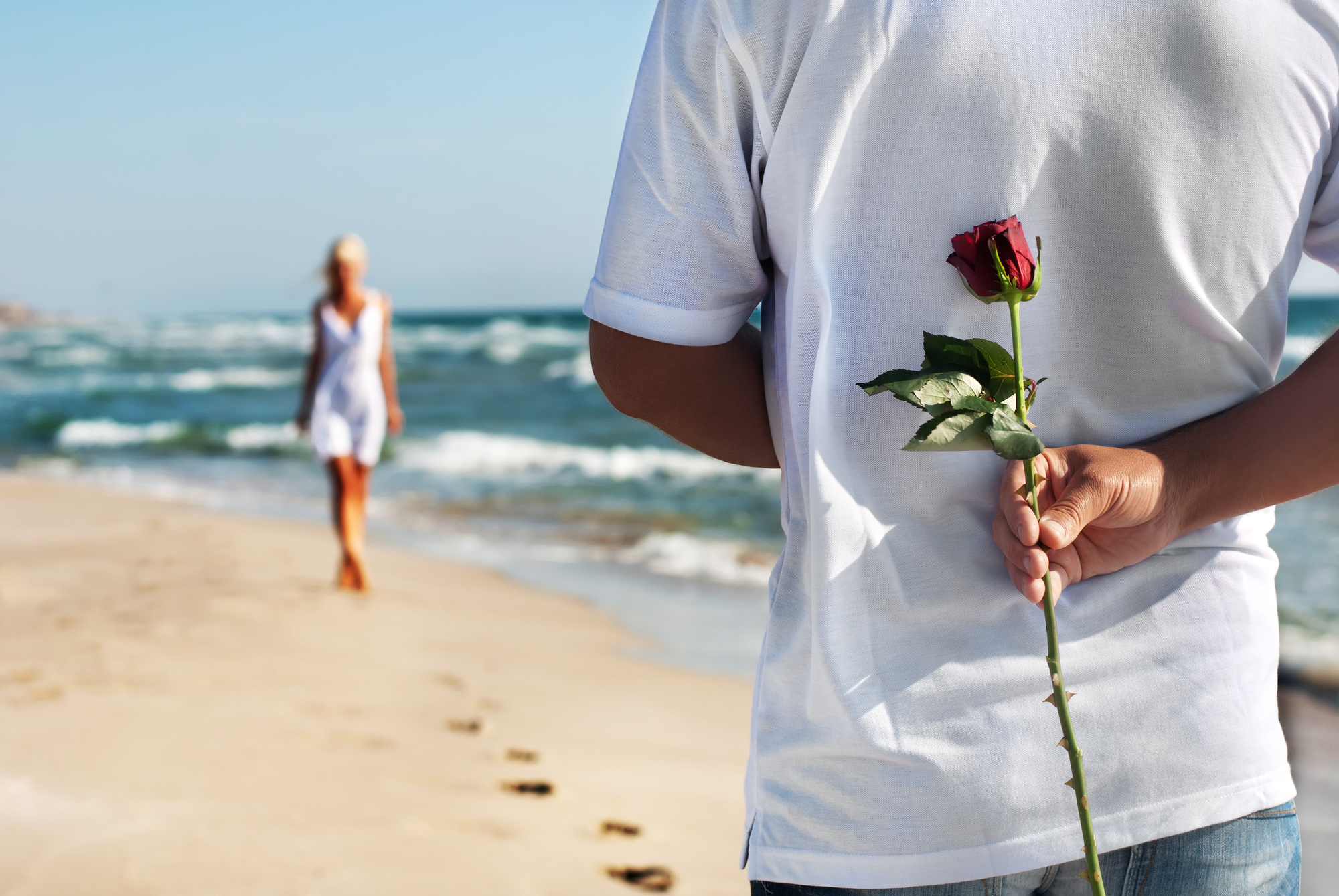 Woman approaching man with rose on beach
