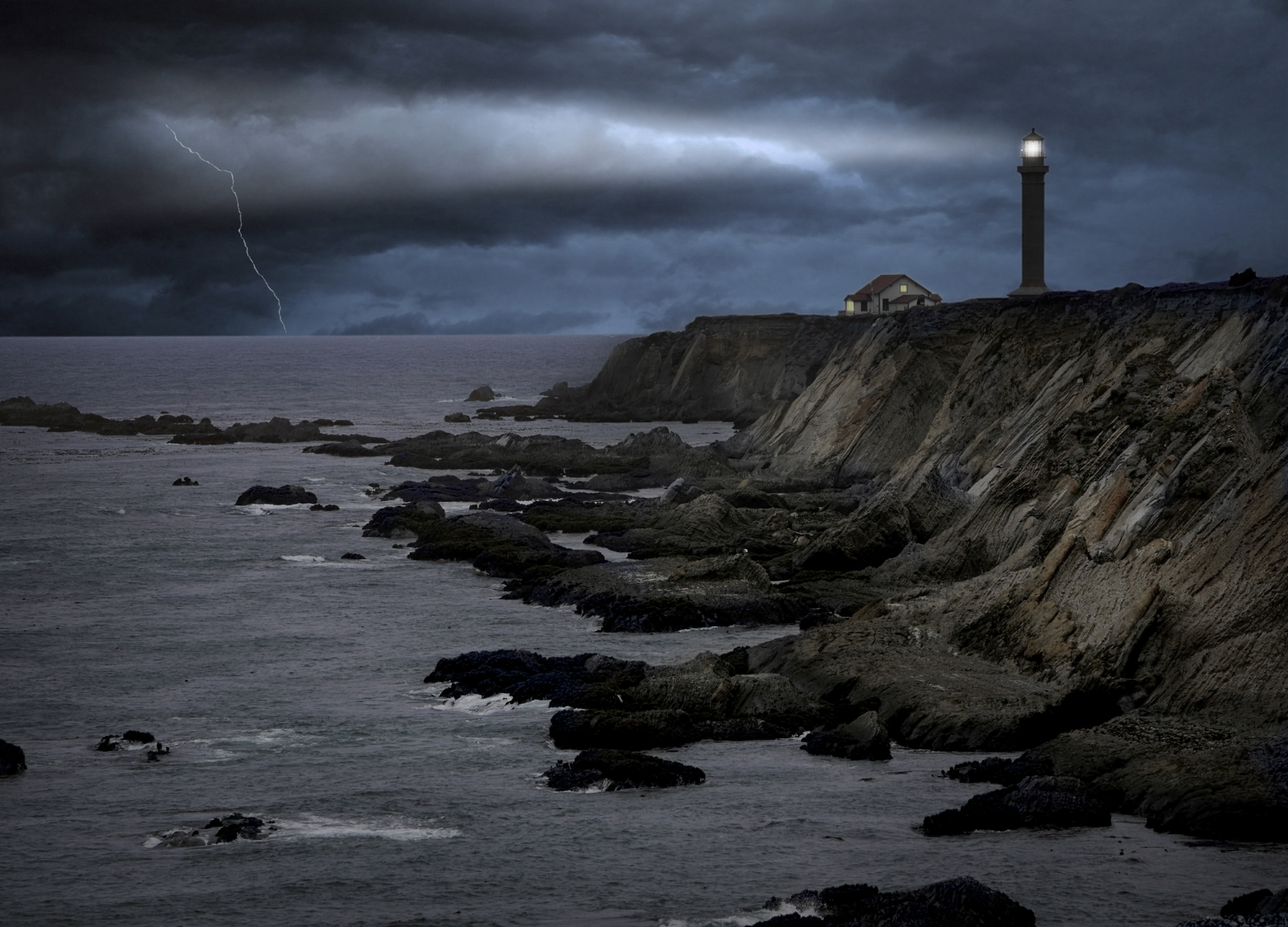 stormy ocean and lighthouse evoking thriller book feel