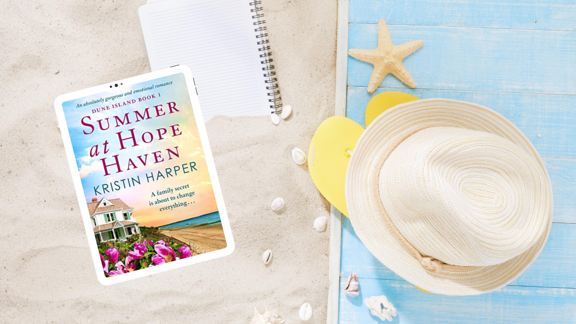 Summer at Hope Haven book cover in the sand