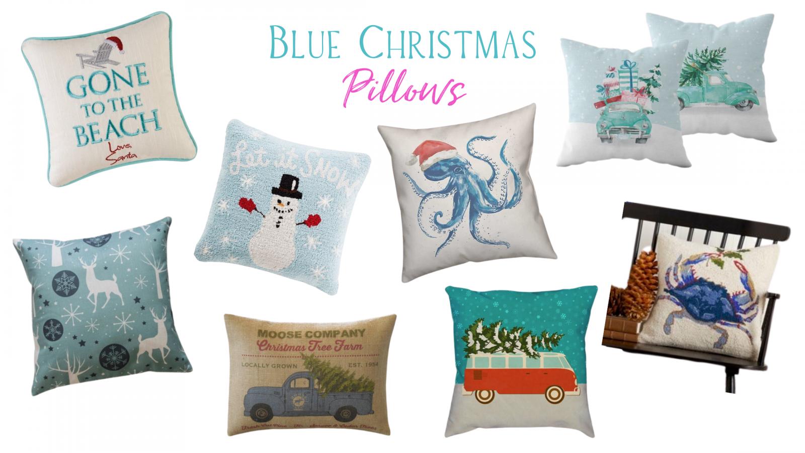 blue Christmas pillows