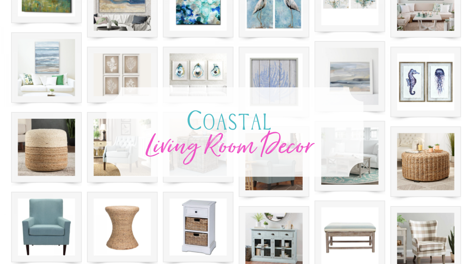 Coastal living room decor like chairs, art, rugs and lamps